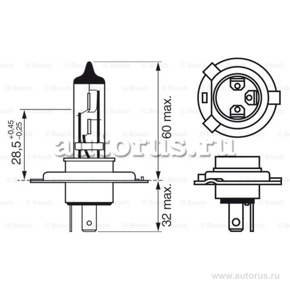 Bosch 1987302041 Лампа галогеновая BOSCH H4 P43t 12V 60/55W  1шт.