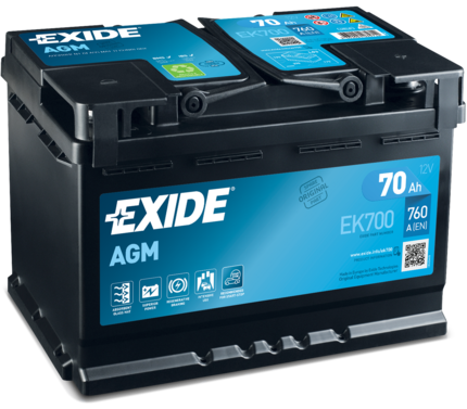 EXIDE EK700 Батарея аккумуляторная 70А/ч 760А 12В Обратная поляр. стандартные клеммы