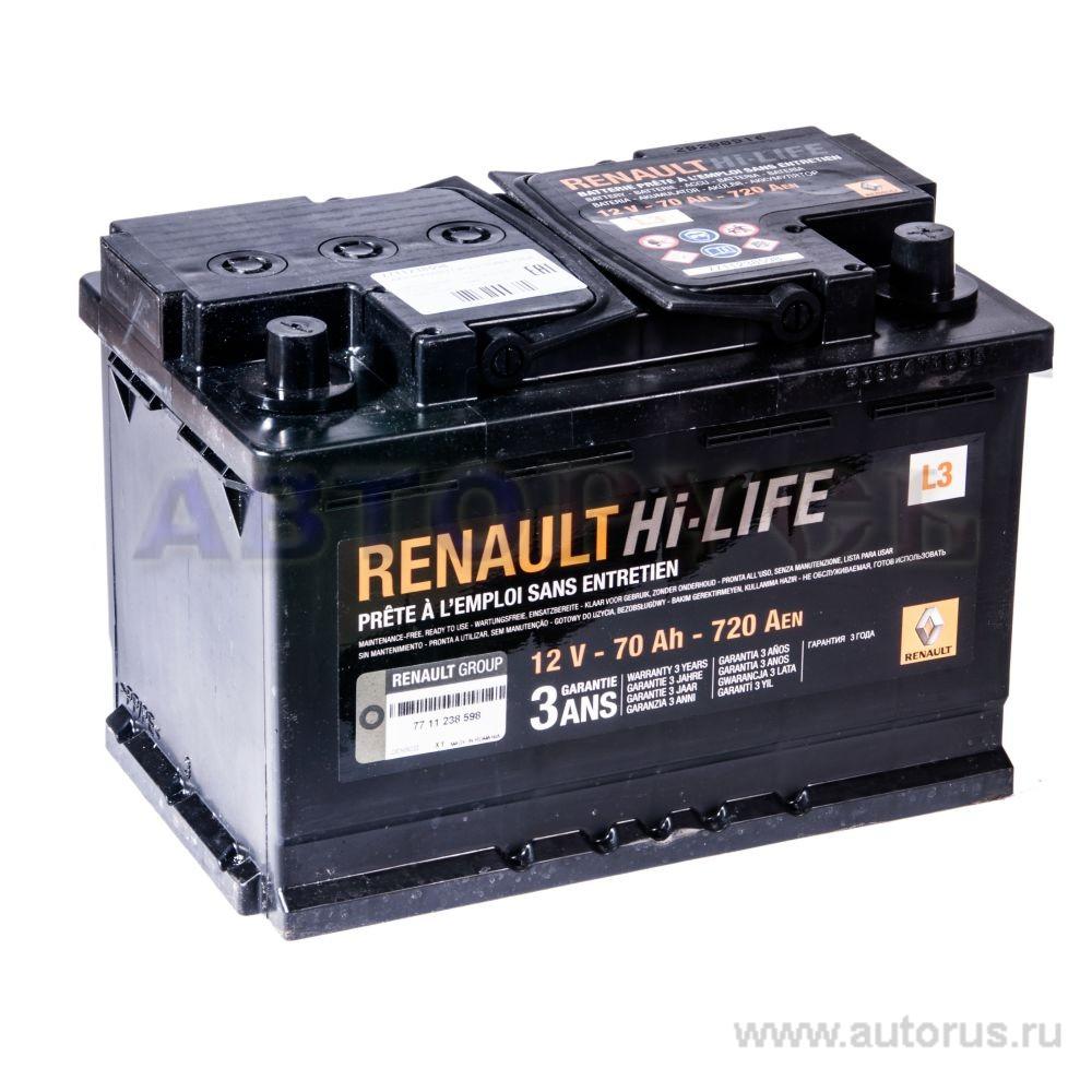 RENAULT 7711238598 Батарея аккумуляторная 70А/ч 720А 12В обратная поляр. стандартные клеммы