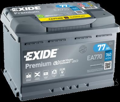 EXIDE EA770 Батарея аккумуляторная 77А/ч 760А 12В обратная полярн. стандартные клеммы