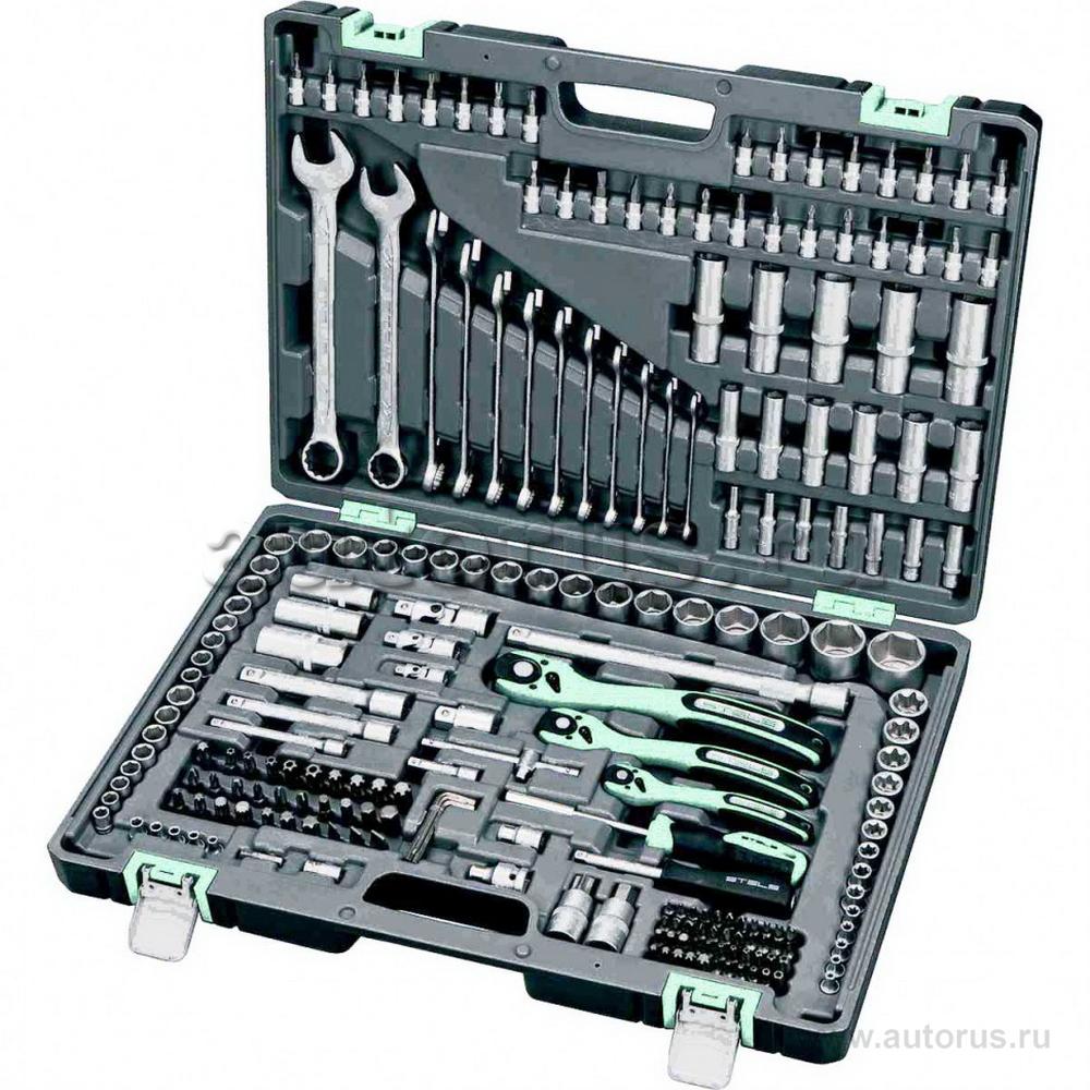 Stels 14115 Набор инструмента, 1/4, 3/8, 1/2, Cr-V, S2, усиленный кейс, 216 предметов Stels