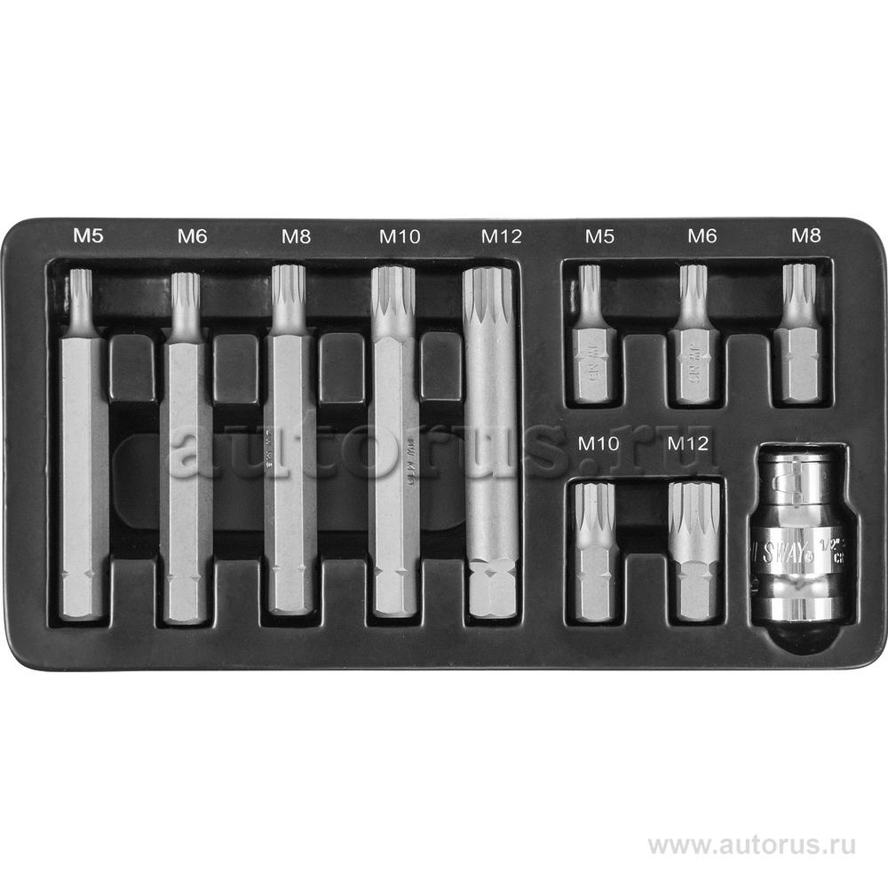Jonnesway S29H4111S Набор бит 10 мм DR с переходниками, 11 предметов JONNESWAY