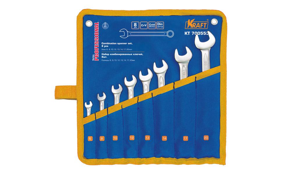 Kraft KT700553 Набор ключей комбинир. 6-20 мм. 8 шт. (сумка)