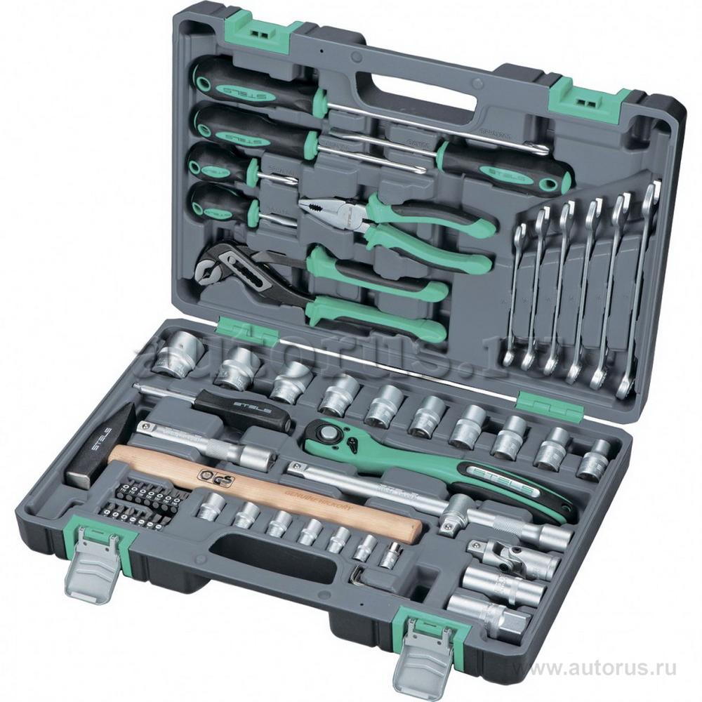 Stels 14113 Набор инструмента, 1/2, Cr-V, S2, усиленный кейс, 58 предметов Stels