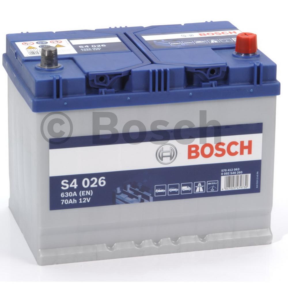 Bosch 0092S40260 Батарея аккумуляторная 12В 70А/ч 630А обратная поляр. выносные (Азия) клеммы
