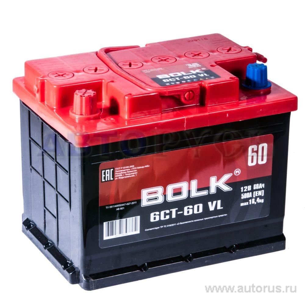 BOLK AB601 Батарея аккумуляторная 60А/ч 500А 12В прямая поляр. стандартные клеммы