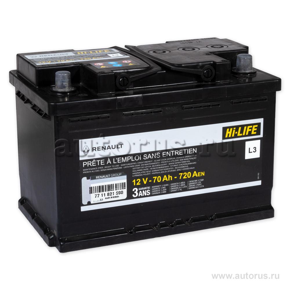 RENAULT 7711821598 Батарея аккумуляторная 70А/ч 720А 12V обратная поляр. стандартные клеммы