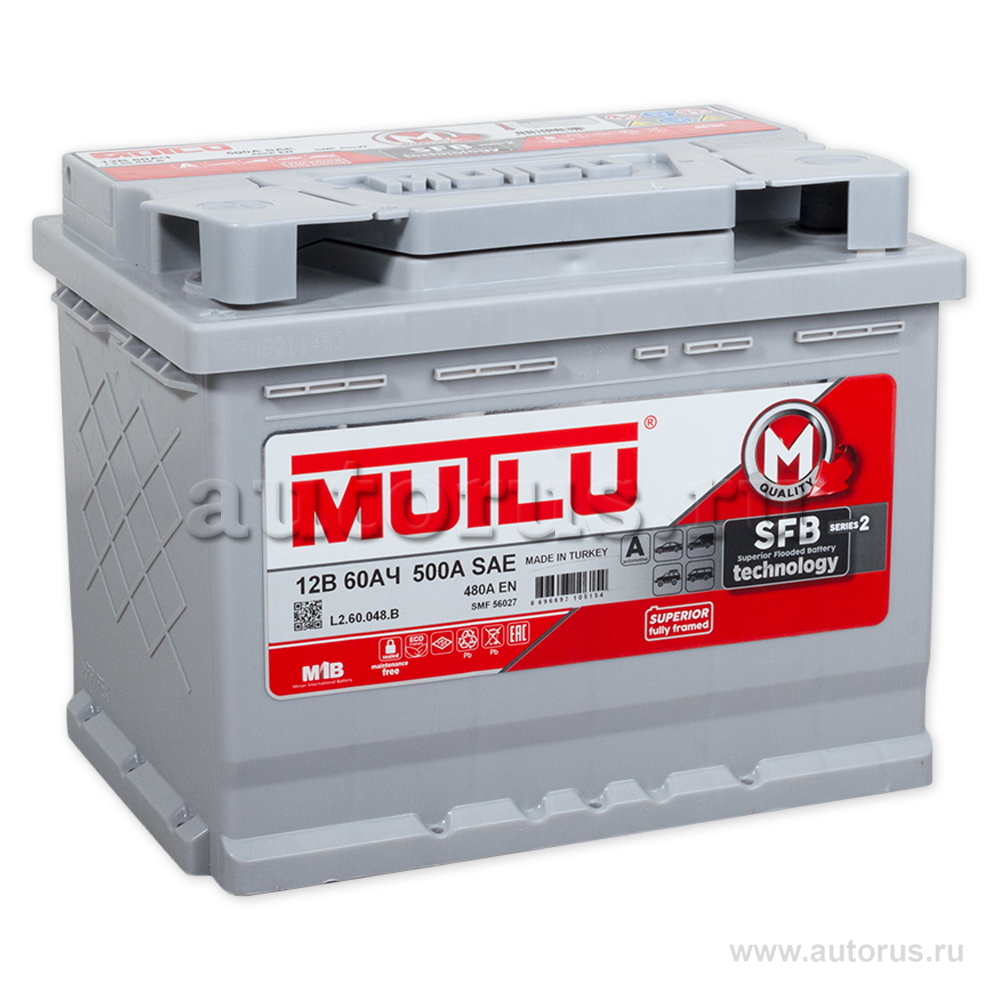 Mutlu L260048B Батарея аккумуляторная 60А/ч 480А 12В прямая поляр. стандартные клеммы