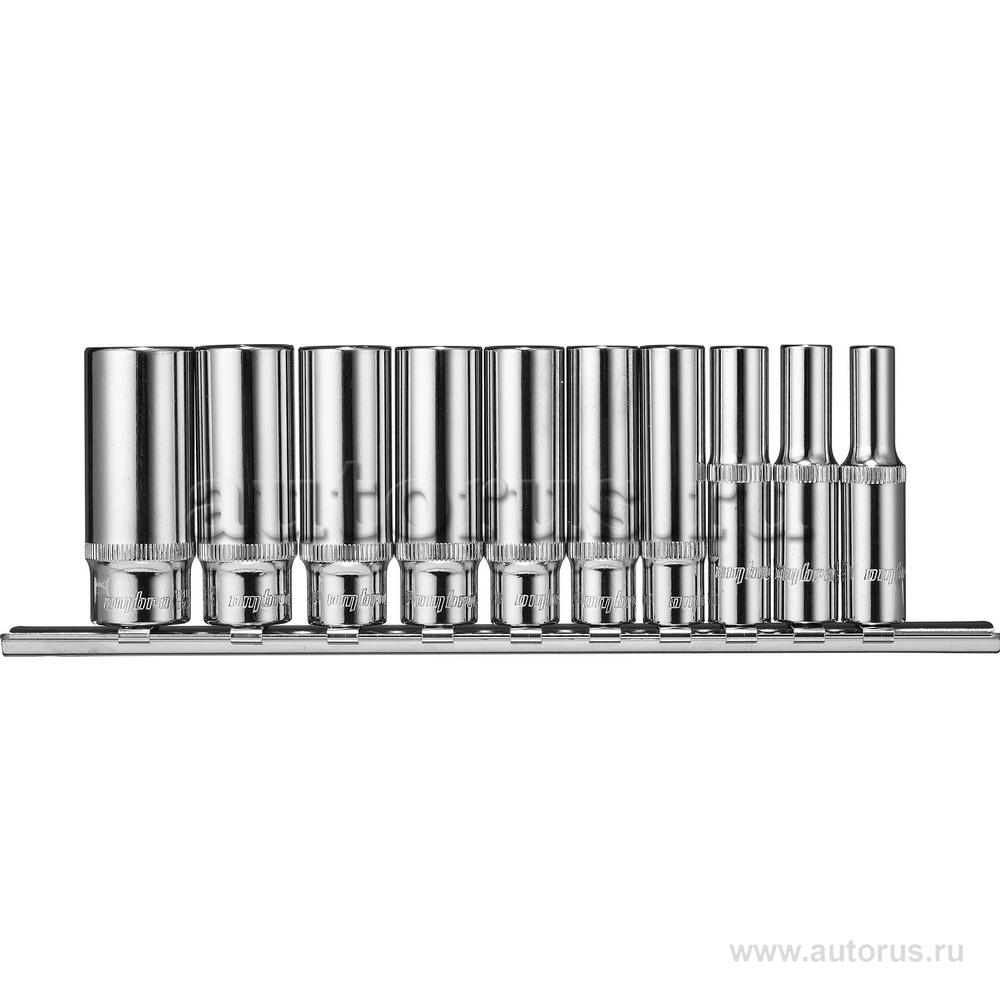 """OMBRA 914110 Набор головок (10пр.) 1/4"""""""" OMBRA 5-14 мм. удлиненные на держателе"""