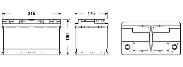 EXIDE EK800 Батарея аккумуляторная 80А/ч 800А 12В Обратная поляр. стандартные клеммы
