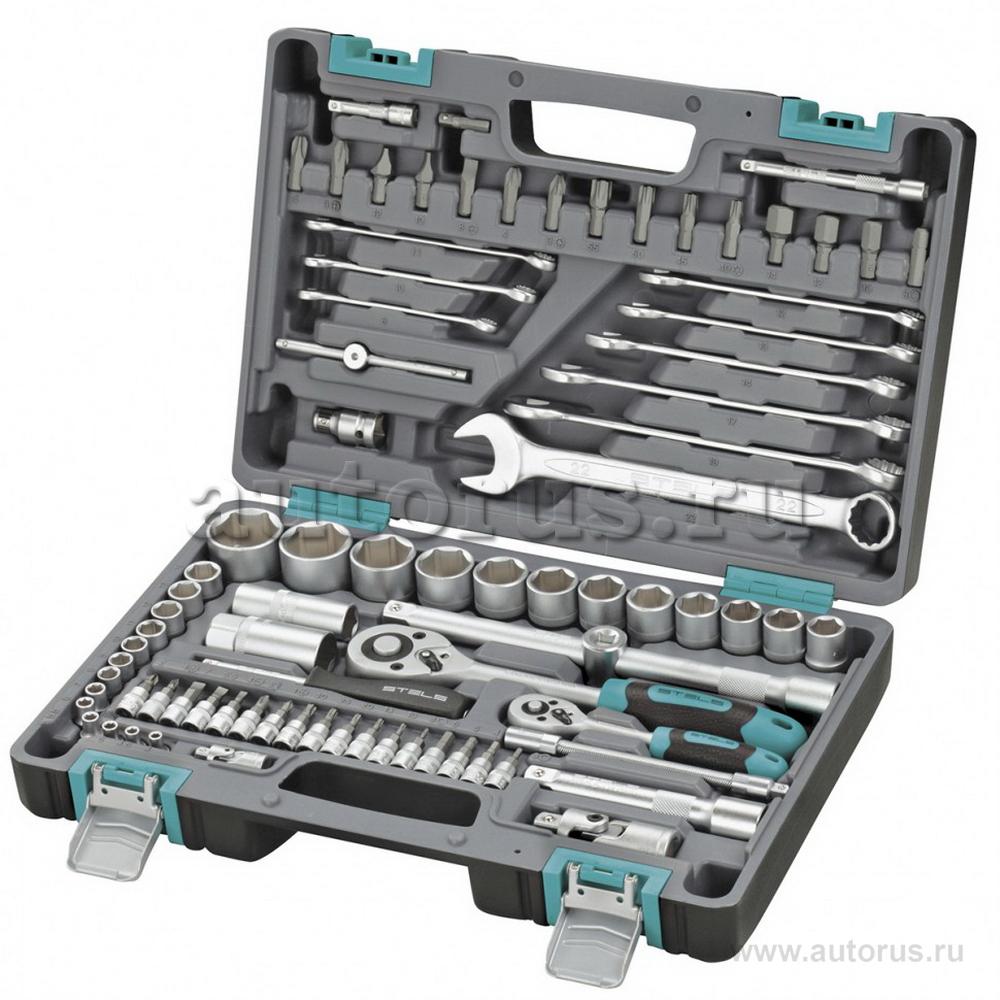 Stels 14105 Набор инструментов, 1/2, 1/4, CrV, пластиковый кейс, 82 предмета Stels