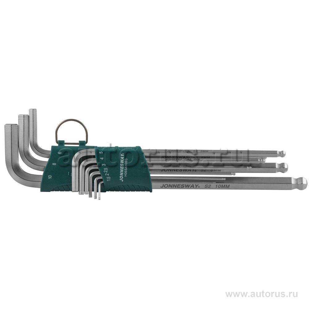 Jonnesway H06SA109S Набор ключей торцевых шестигранных удлиненных с шаром, 9 предметов JONNESWAY