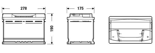 EXIDE EB740 Батарея аккумуляторная 74А/ч 680А 12В обратная полярн. стандартные клеммы