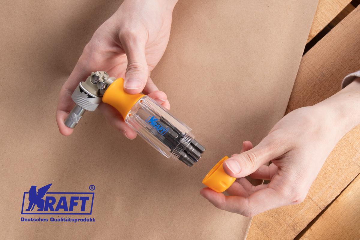 """Kraft KT700408 Отвёртка реверcивная с набором бит """"""""KRAFT"""""""" 13 пр.+магнитный удлинитель"""