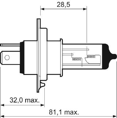 Valeo 032007 Лампа галогеновая VALEO H4 P43t 12V 60/55W  1шт.