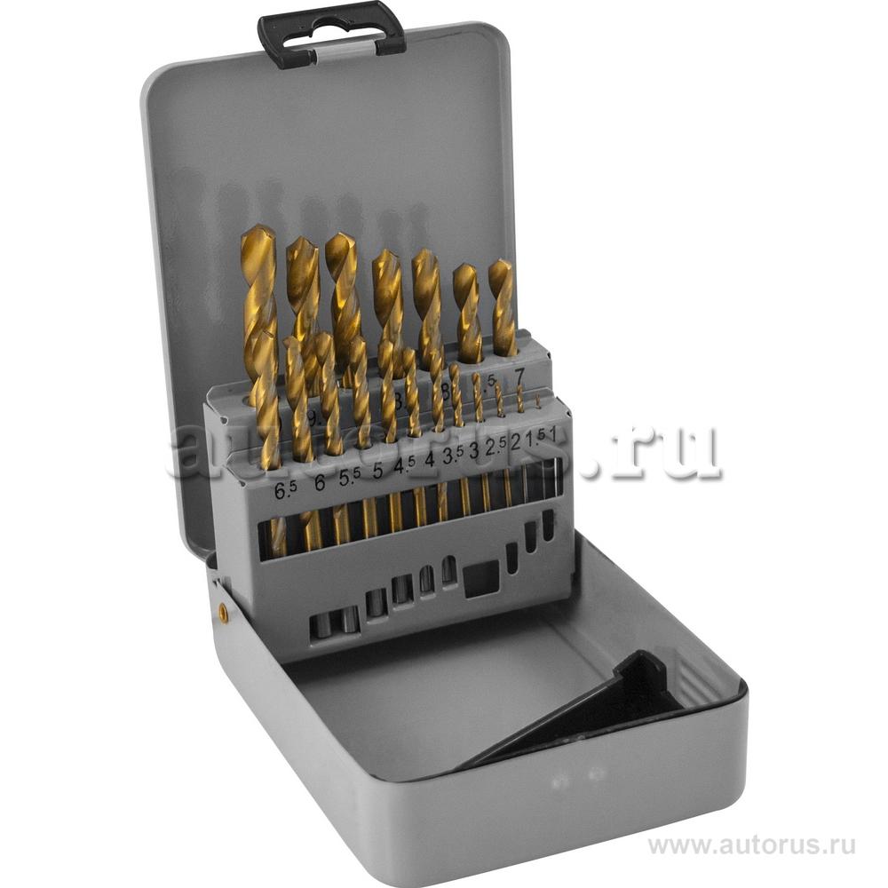 THORVIK TDBS19 Набор сверл по металлу HSS TiN заточка 118° 1,0-10,0мм 19 предметов, метал. упак. THORVIK