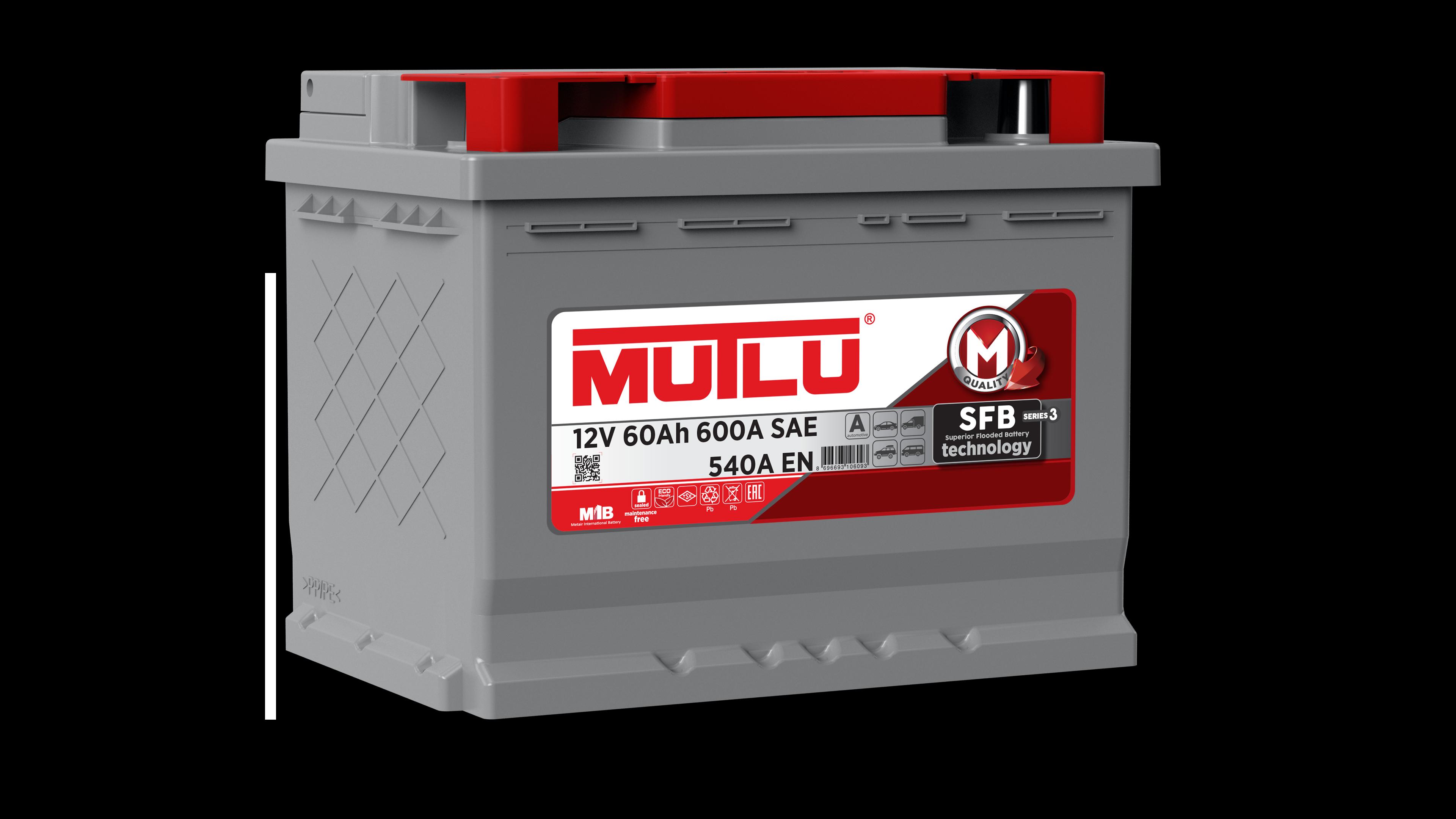 Mutlu L260054A Батарея аккумуляторная 60А/ч 540А 12В обратная поляр. стандартные клеммы