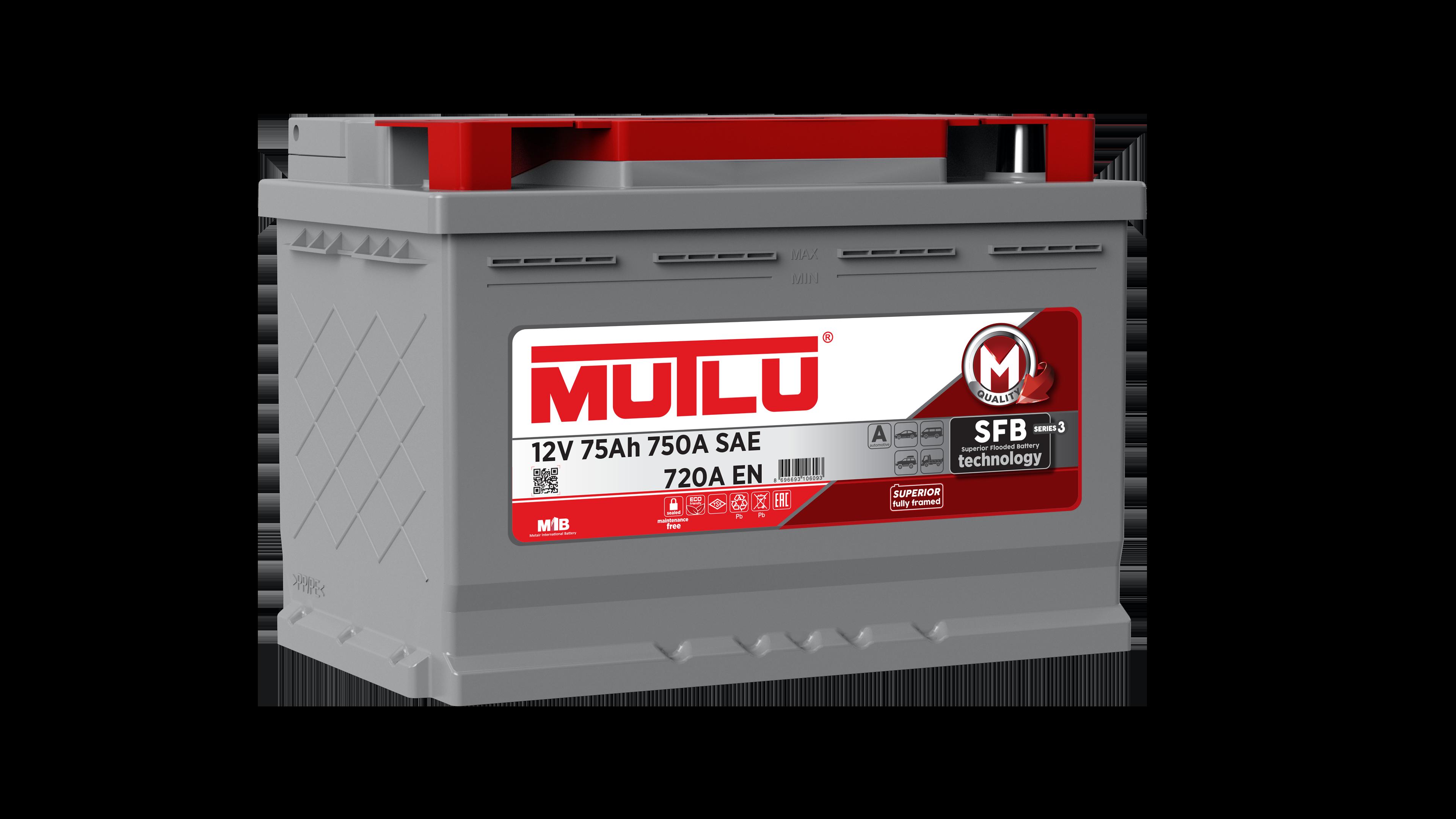 Mutlu L375072A Батарея аккумуляторная 75А/ч 720А 12В обратная поляр. стандартные клеммы