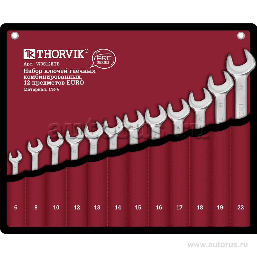 THORVIK W3S12ETB Набор ключей комбинир. 6-22 мм. EURO 12 шт. THORVIK ARC (сумка)