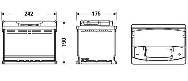 EXIDE EA640 Батарея аккумуляторная 64А/ч 640А 12В обратная полярн. стандартные клеммы