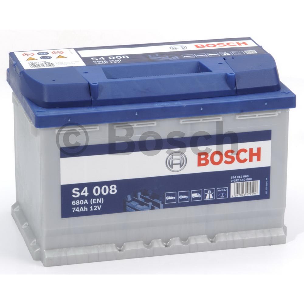 Bosch 0092S40080 Батарея аккумуляторная 74А/ч 680А 12В обратная поляр. стандартные клеммы