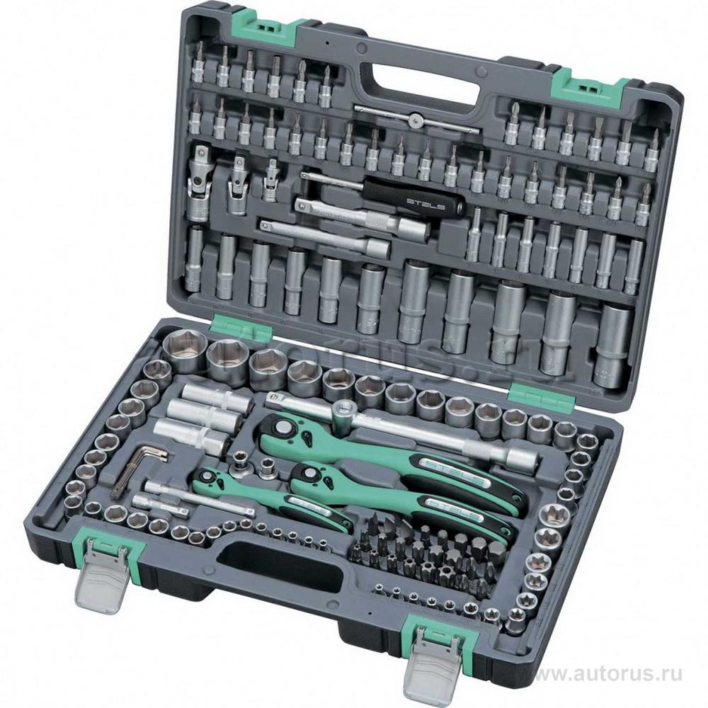 Stels 14114 Набор инструмента, 1/4, 3/8, 1/2, Cr-V, S2, усиленный кейс, 151 предмет Stels