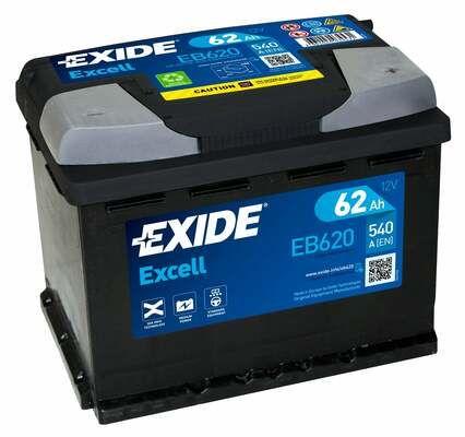 EXIDE EB620 Батарея аккумуляторная 62А/ч 540А 12В обратная полярн. стандартные клеммы