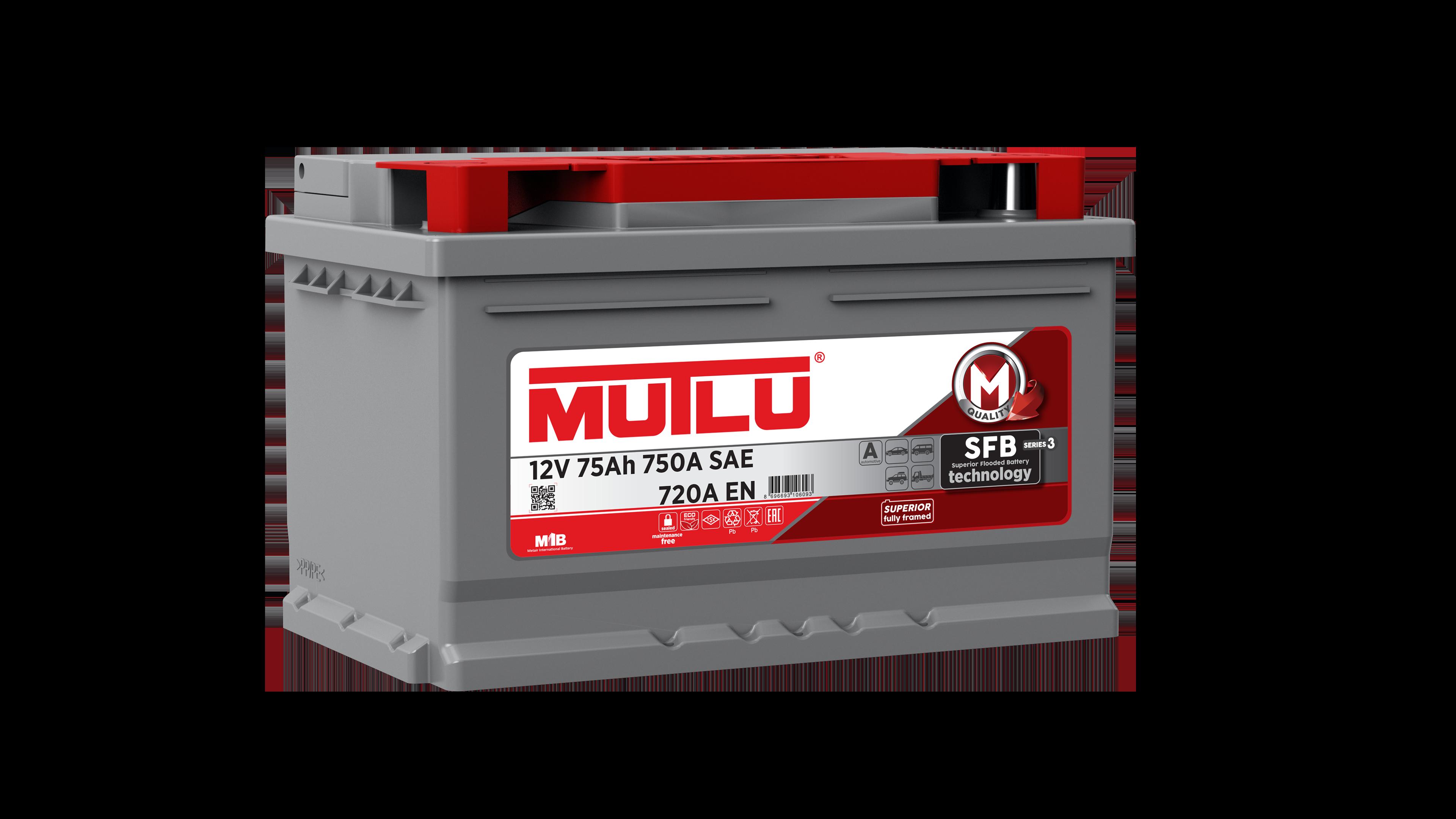 Mutlu LB375072A Батарея аккумуляторная 75А/ч 720А 12В обратная поляр. стандартные клеммы